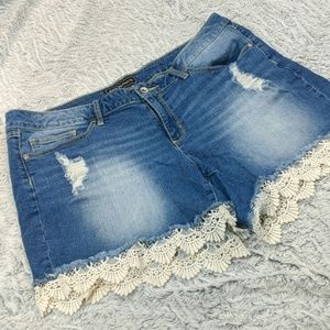 Cute Cut Off Jean Shorts With Lace - Cato Premium